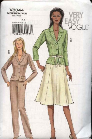 Vogue Sewing Pattern 8044 Misses Size 14-16-18-20 Easy  Jacket Skirt Pants Suit Pantsuit