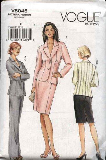 Vogue Sewing Pattern 8045 Misses Size 8-10-12 Lined Seam Details Jacket Skirt Pants Suit