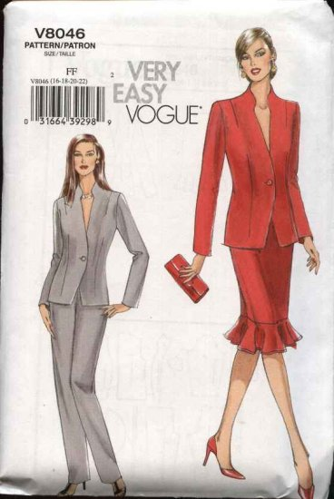 Vogue Sewing Pattern 8046 Misses Size 8-10-12-14 Easy  Jacket Skirt Pants Suit Pantsuit