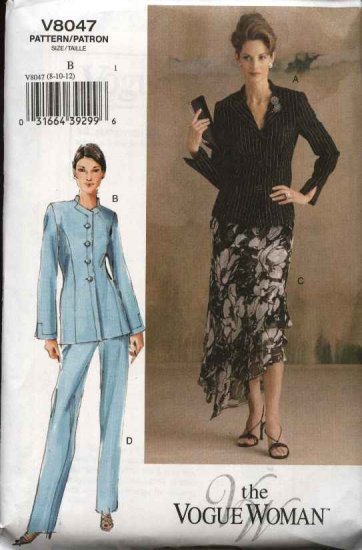 Vogue Woman Sewing Pattern 8047 Misses Size 14-16-18 Fitted Lined Jacket Skirt Suit Pantsuit