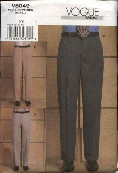 Vogue Sewing Pattern 8049 Mens Size Waist 39-44 Trousers Tapered Pants Slacks