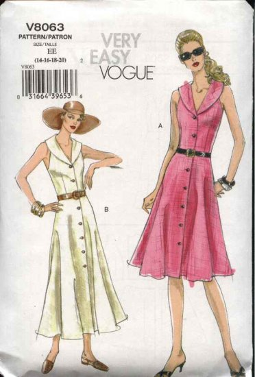 Vogue Sewing Pattern 8063 Misses size 6-8-10-12 Easy Flared Button Front Summer Dress