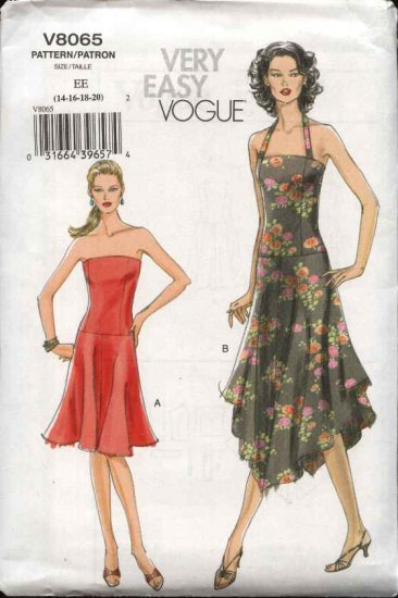 Vogue Sewing Pattern 8065 Misses size 14-16-18-20 Easy Strapless Halter Summer Dress Sundress