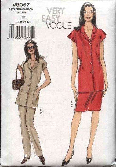 Vogue Sewing Pattern 8067 Misses size 8-10-12-14 Easy Top Skirt Pants Pantsuit Summer Suit