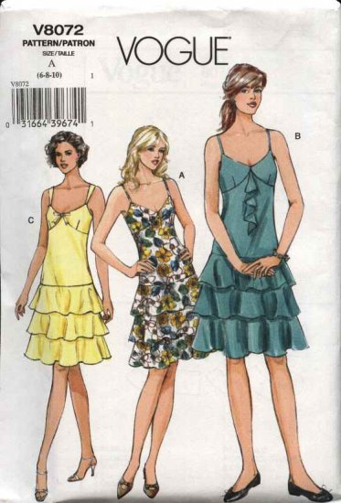 Vogue Sewing Pattern 8072 Misses 18-22 Easy Summer Dress Sundress Ruffles
