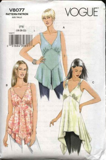 Vogue Sewing Pattern 8077 Misses Size 12-14-16 Easy Sleeveless Tops Tunics Empire Waist