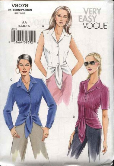 Vogue Sewing Pattern 8078 V8078 Misses Size 6-12 Easy Blouse Top Shirt Button Front Peplum