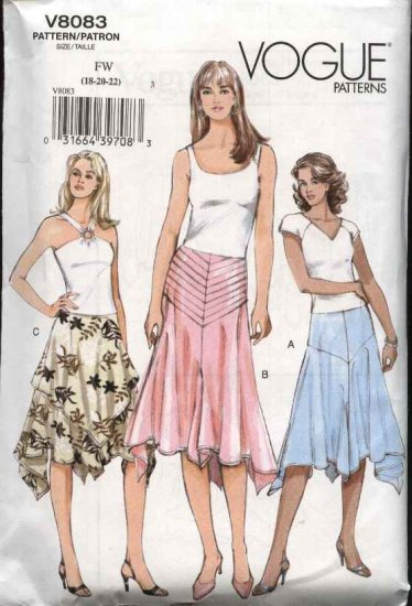 Vogue Sewing Pattern 8083 Misses Size 18-20-22 Easy Yoked Flared Skirts