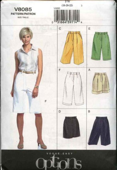 Vogue Sewing Pattern 8085 Misses size 18-20-22 Easy Shorts City Walking Bermuda Cuffs