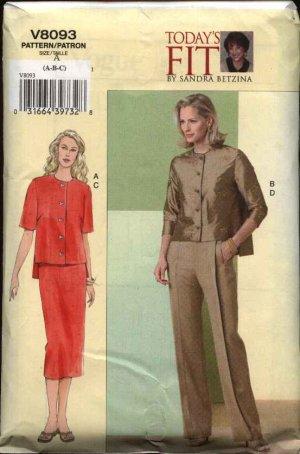 Vogue Sewing Pattern V8093 8093 Misses Size 10-14 Sandra Betzina Blouse Skirt Pant Top