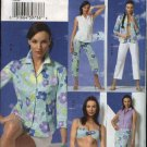 Vogue Sewing Pattern 8094 Misses Size 6-10 Easy Vacation Beach Wardrobe Shirt Bra Skirt Shorts Pants