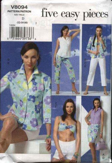 Vogue Sewing Pattern 8094 Misses Size 12-16 Easy Wardrobe Beach Vacation Shirt Bra Skirt Shorts Pant