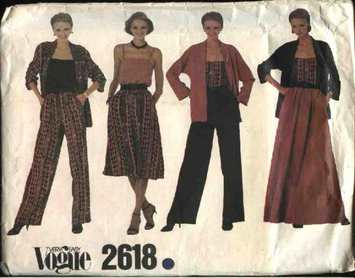 Vogue Sewing Pattern 2618 V2618 Misses Size 10 Easy Wardrobe Skirt Jacket Camisole Pants