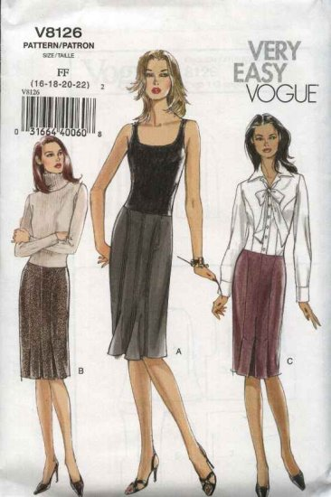 Vogue Sewing Pattern 8126 V8126 Misses Size 16-22 Easy Straight Pleated Topstitched Skirt