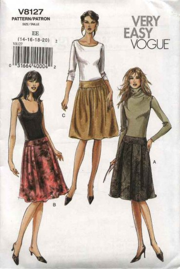 Vogue Sewing Pattern 8127 Misses Size 14-16-18-20 Easy Yoke Gathered Pleated Skirt