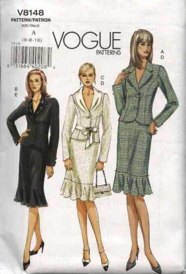 Vogue Sewing Pattern 8148 Misses Size 12-14-16 Easy Skirt Top Jacket Suit
