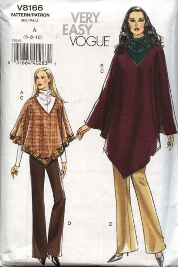 Vogue Sewing Pattern 8166 Misses Size 12-14-16 Easy Poncho Top Bootleg Pants