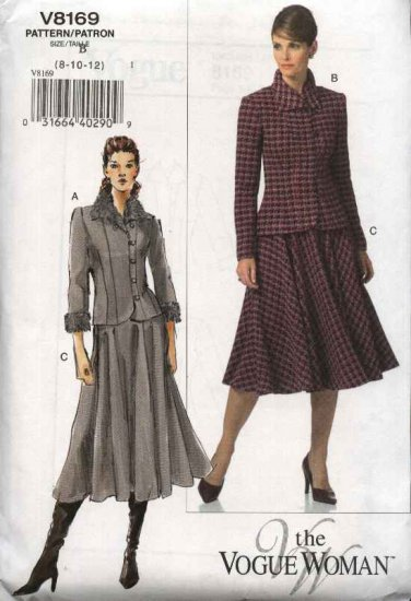Vogue Woman Sewing Pattern 8169 Misses Size 8-10-12 Easy Jacket Skirt Suit