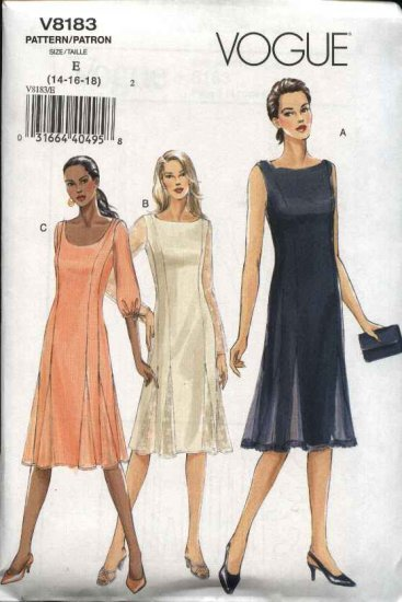 Vogue Sewing Pattern 8183 Misses Size 8-10-12 Easy Princess Seam Dress