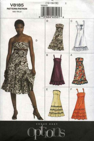 Vogue Sewing Pattern 8185 V8185 Misses Sizes 12-14-16 Easy Ruffled Strapless Summer Dress
