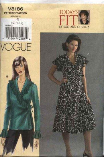 Vogue Sewing Pattern 8186 Womens Plus Size 24W-32W Easy Sandra Betzina Wrap Dress Top Blouse