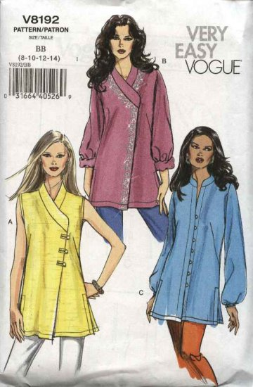 Vogue Sewing Pattern 8192 Misses Size 8-10-12-14 Easy Asymmetrical Tunic Top