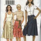 Vogue Sewing Pattern 8198 Misses Size 6-8-10 Easy Flared Yoke Front Wrap Skirts