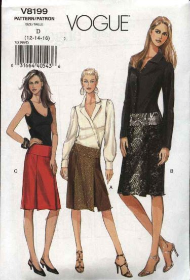Vogue Sewing Pattern 8199 Misses Size 18-22 Easy Low-Rise Yoke Pleated Skirts