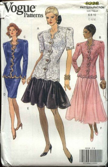 Vogue Sewing Pattern 8228 Misses Size 6-8-10 Formal Top Skirt Two-piece Dress Evening Suit