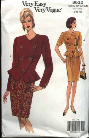 Vogue Sewing Pattern 8532 Misses Size 8-10-12 Easy Top Jacket Skirt Peplum