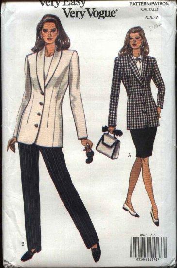 Vogue Sewing Pattern 8543 Misses Size 6-8-10 Easy Jacket Skirt Pants Suit Pantsuit Shawl Collar