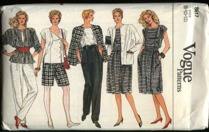 Vogue Sewing Pattern 8617 Misses Size 8-10-12 Wardrobe Jacket Skirt Pants Shorts Top