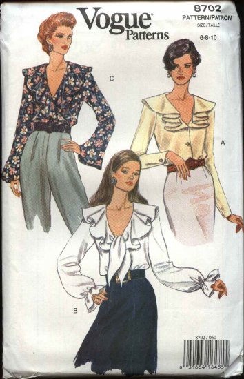 Vogue Sewing Pattern 8702 Misses Size 6-8-10 Easy Blouses Tops Wrap Ruffles