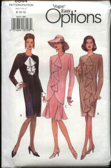 Vogue Sewing Pattern 8844 Misses Size 14-16-18 Easy Dress Tunic Skirt Two-Piece Dress