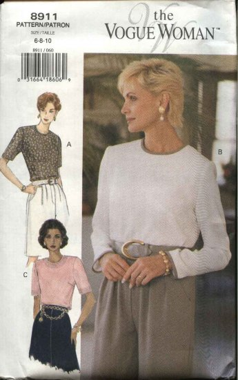 Vogue Sewing Pattern 8911 V8911 Misses Size 6-10 Easy Pullover Top Blouse