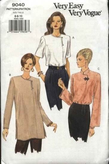Vogue Sewing Pattern 9040 Misses Size 6-8-10 Loose Pullover Top Tunic Blouse