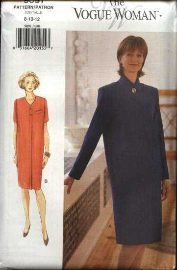 Vogue Woman Sewing Pattern 9091 Misses Size 20-22-24  Easy Straight Dress