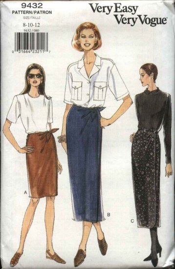 Vogue Sewing Pattern 9432 Misses Size 8-10-12 Easy Wrap Front Skirt