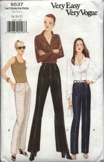 Vogue Sewing Pattern 9537 Misses Size 18-20-22 Easy Straight Legged Pants Slacks