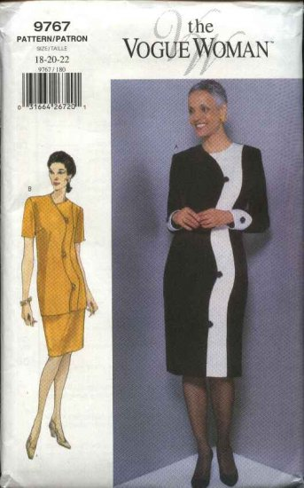 Vogue Sewing Pattern 9767 Misses Size 18-20-22 Easy Dress Top Skirt