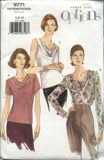 Vogue Sewing Pattern 9771 Misses Size 18-20-22 Easy Tops Pullover Blouse