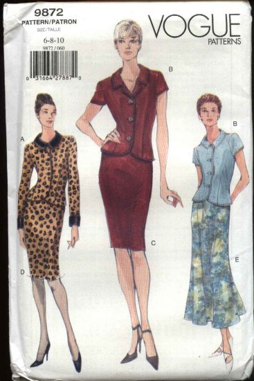 Vogue Sewing Pattern 9872 Misses Size 6-8-10 Tops Skirts Suit
