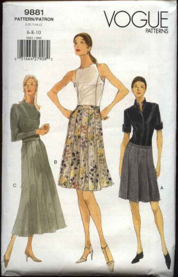 Vogue Sewing Pattern 9881 Misses size 6-8-10 Easy Flared Gored Pleated Skirt