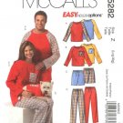 """McCall's Sewing Pattern 5282 Misses Mens Chest Size 38-44"""" Easy Pajamas Dog Shirt Pants Shorts"""