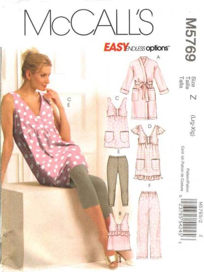 McCall's Sewing Pattern 5769 Misses Size 16-22  Easy Robe Tops Nightgown Leggings Pants Pajamas