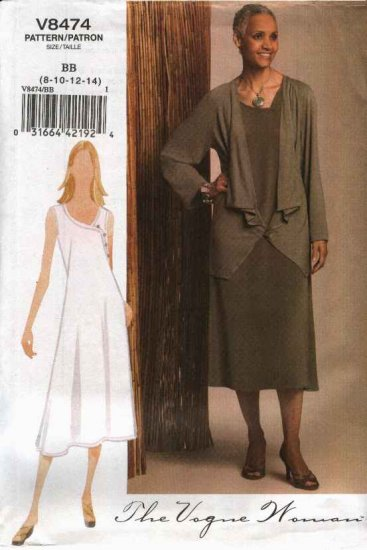 Vogue Woman Sewing Pattern 8474 Misses 8-10-12-14 Easy Jacket A-Line Dress