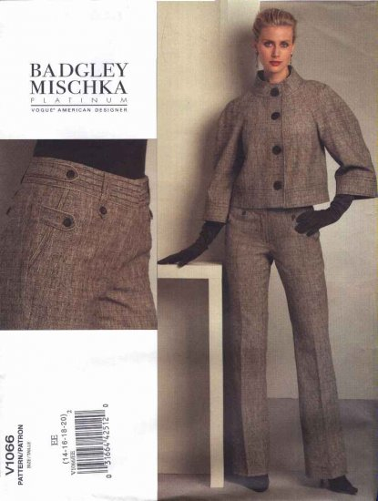 Vogue Sewing Pattern 1066 Misses Size 14-16-18-20 Badgley Mischka Jacket Pants Pantsuit