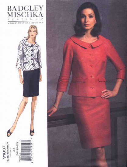 Vogue Sewing Pattern 1037 Misses Size 14-22 Badgley Mischka Jacket Skirt Suit