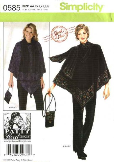 Simplicity Sewing Pattern 0585 Misses Size 4-6-8-10-12-14-16 Easy Knit Top Pants Poncho Purse Scarf