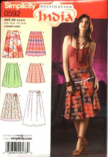 Simplicity Sewing Pattern 0592 4703 Misses Size 4-10 Classic Pleated Skirts